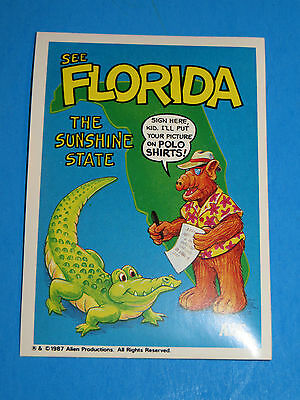 1987 Alf Trading Card Sticker Alf Visits Florida The Sunshine State & Alligator