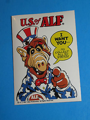 1987 Alf Trading Card Sticker Alf As Uncle Sam U.s.a