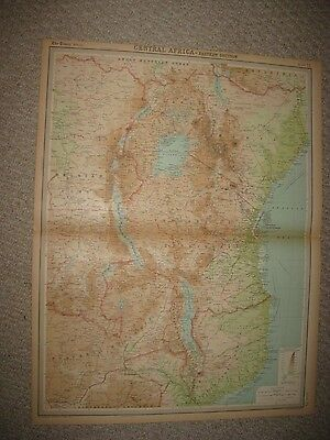 Huge Antique 1922 Central Africa Times Atlas Map Rhodesia Colonial Conga Kenya N