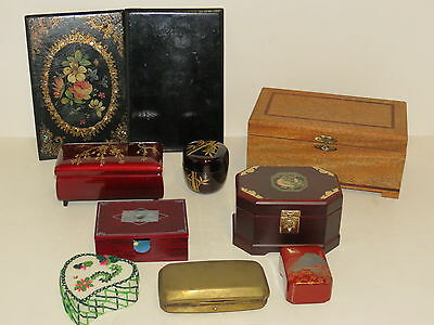 * Vtg Lot Of 9 Decorative Boxes, Trinket Boxes - Inlaid Lacquered Brass Wood  *