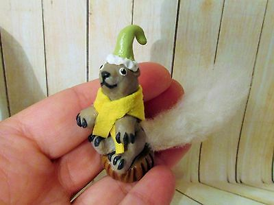 WHITE TAIL SQUIRREL mini figure ooak polymer clay Art doll Christmas wildlife
