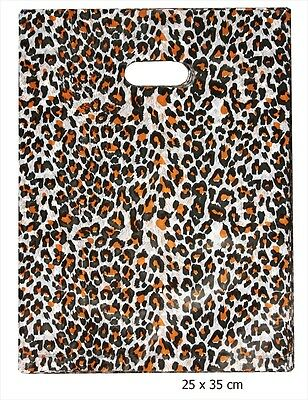 "10""x13"" 100 pc Leopard Print Poly Plastic Retail Shopping Boutique Gift Bags"