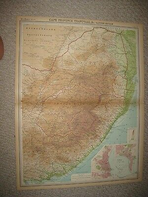 Large Antique 1922 Cape Province Transvaal Africa Times Atlas Map Durban Fine Nr