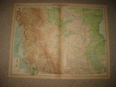 Huge Folio Antique 1922 West Western Canada British Columbia Times Atlas Map Nr