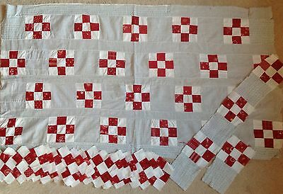 Vintage 1890-1900's 9-Patch QUILT TOP & PIECES, Great RED Fabrics, #B407