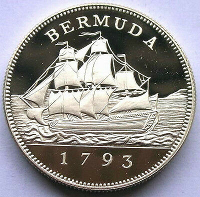 Bermuda 1993 Sailboat 2 Dollars Silver Coin,Proof