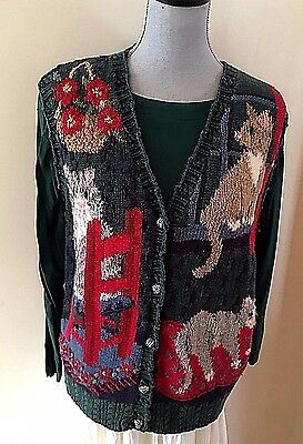 NORTHERN ISLES GREEN KITTY CAT COTTON/RAMIE SWEATER VEST KNITTED BY HAND sz XL