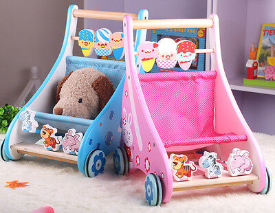 2 in 1 - Baby Wooden Walker Cart Colorful Activity Toy & Dolls Pram Stroller