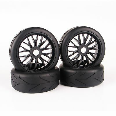 4 pcs On-Road 1/8 RC Car Tires Set Tyre Wheel Rim For HPI HSP Traxxas Buggy