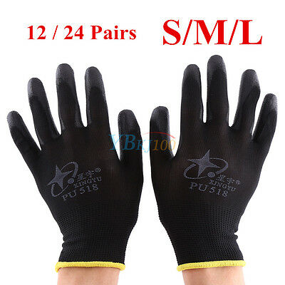12/24 Pairs Black PU Coated Safety Work Gloves Mechanic Builders Grip S/M/L NEW