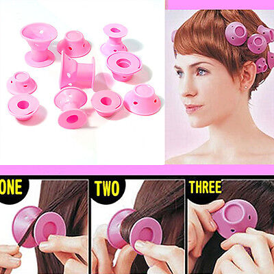 10PCS Soft Rubber Hair Care DIY Roll Style Roller Hair Curler Styling Tool Pink