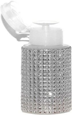 PUMP-DISPENDER mit Straßsteine 170ml ++SILBER-TRANSPARENTER STRASS/weißer Dispen