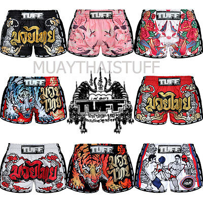 NTW Tuff Muay Thai Kick Boxing Shorts Retro Style Black Pink Red White Training