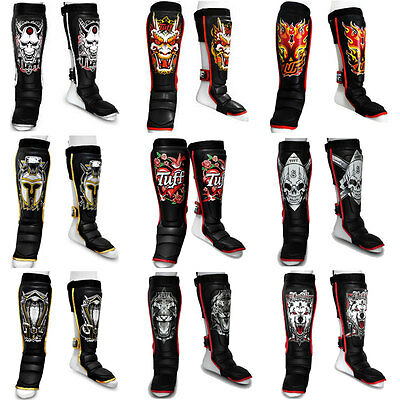 Tuff Shin Guards Black Muay Thai Boxing Shin Pads Microfiber PU Kick Boxing
