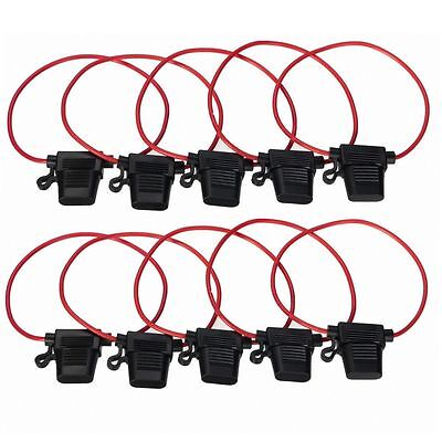 10pcs Standard Blade Fuse Holder Splash Proof 40A 12 AWG Cable In Line Car Auto