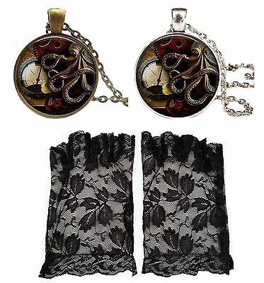 Black Lace Fingerless Gloves + Gothic Steampunk Octopus Long Pendant Necklace