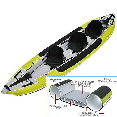 NEW - Z-pro Tango 300 Three (3) Person Inflatable Kayak with Skeg Fin + Bag
