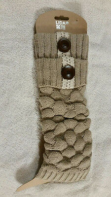 Brand New Long LEG WARMERS  KNITTED Button Boot Cuffs Toppers Covers
