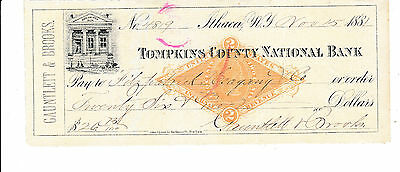 1881 Antique Check,  Tompkins County National Bank. Itaca, N.y.     W/revenue