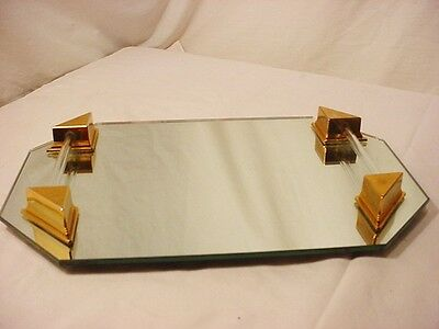 "Vtg 8 Sided Vanity Mirror Tray 2 Lucite Rails 13 1/2"" x 9"" Gold tone Corners"