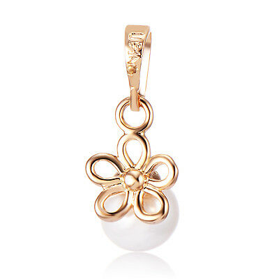 Childrens Jewelry Kids Girls Small Flower Pendant White Pearl 10k  Gold Filled