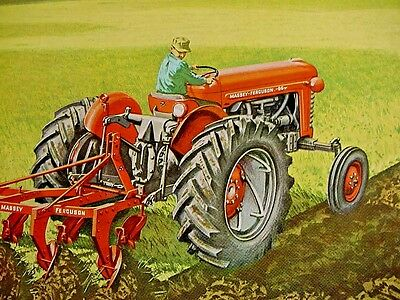 RARE Early 1950s Vintage MASSEY HARRIS TRACTOR Old Graphic Showroom Sign