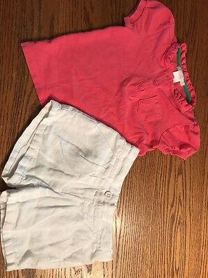 Janie And Jack Toddler Girls Size 3T Pink Shirt White Linen Shorts Outfit