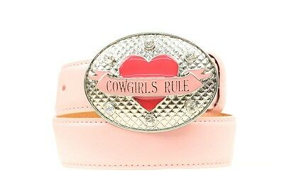 Nocona Girl's Cowgirls Rule Heart Pink Leather Belt $39