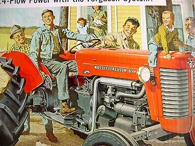RARE early 1950s Vintage MASSEY FERGUSON TRACTOR Old Graphic Showroom Sign