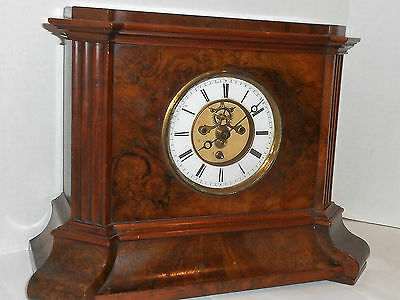 Antique French 8 Day Open Escapement Cabinet Clock Beautiful Walnut Working