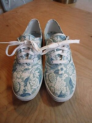 Keds Original Baby Blue Flowered Lace Up Fashion Sneakers Shoes Size Womens 7.5