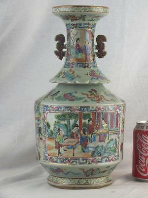 "Large 13.5"" 19Th C Chinese Porcelain Canton Famille Rose Celadon Vase"