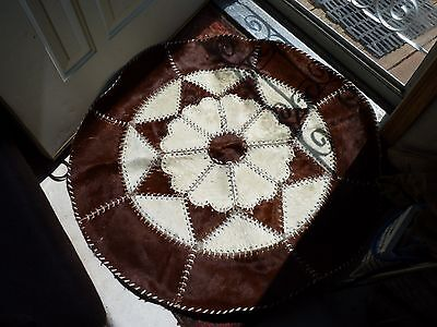 "Vintage 39"" Round Cowhide Rug, Brown and White"
