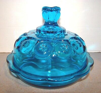L.E. Smith Moon & Star Blue Round Butter Dish