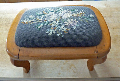 Victorian Foot Stool W/needlepoint Design Cloth Cover , Maple Wood