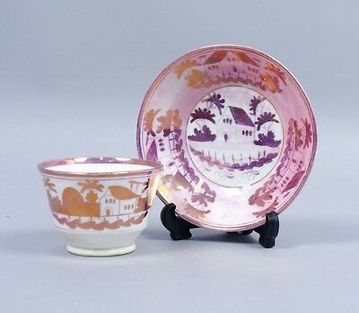 Antique Early 19c House Pattern Hand Painted Pink Lusterware Cup & Saucer