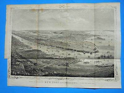 "1869 Antique Original Map  ""birdseye View New York"";  Very Good; Shannons Manual"