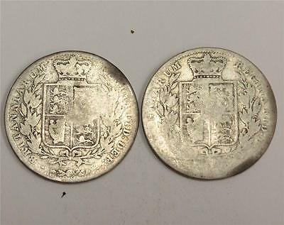1875 & 1876 Great Britain Half Crowns both with full dates