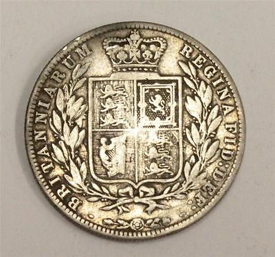 1878 Great Britain Half Crown Very Good+ condition VG10 coin has a slight bend