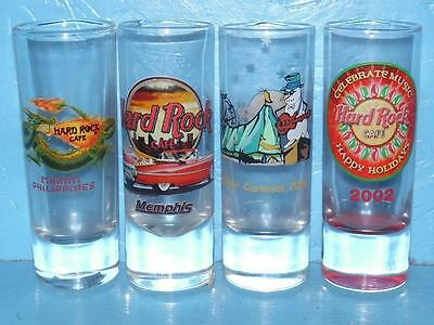 Lot of 4 Hard Rock Cafe Shot Glasses HRC Special Occasion Orlando Memphis Makati