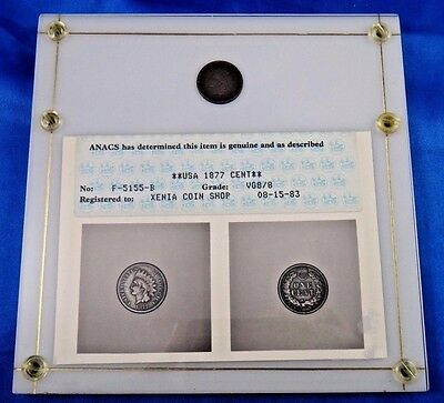 1877 1C BN Indian Cent ANACS VG8/8