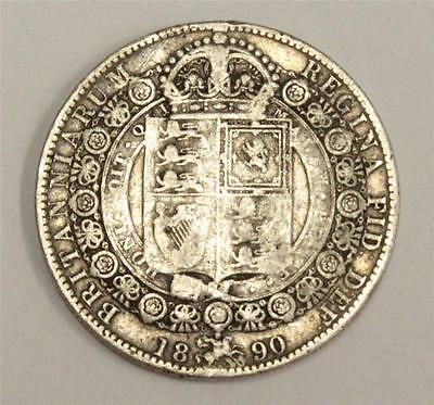 1890 Great Britain Half Crown Fine condition F12 cleaned obverse