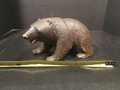 INCREDIBLE American  ANTIQUE HAND CARVED FOLK ART BLACK BEAR FIGURE