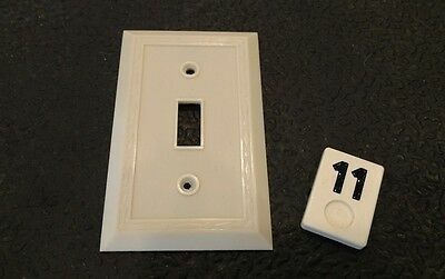 1 Ivory Vtg Bakelite ? Ribbed Deco Single Gang Leviton Switch Plate Cover - B11