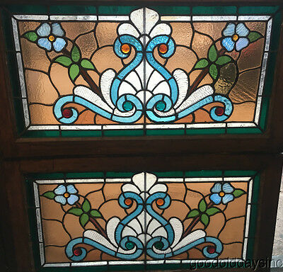 """2 Antique 1890s Victorian Stained & Jeweled Leaded Glass Transom Windows 32"""" 18"""""""