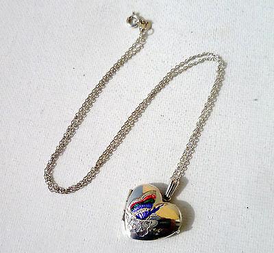 Beautiful  Sterling Silver And Enamel Butterfly Heart Shaped Locket And Chain