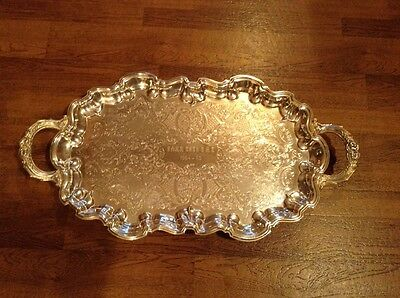 Large heavy English Silver Corp footed silverplate handled butlers serving tray