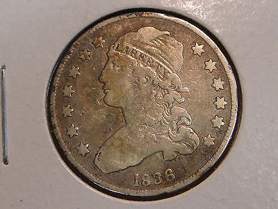 1836 Capped Bust Quarter F details - cleaned