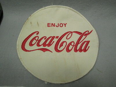 VINTAGE CLOTH ENJOY Coca~Cola 6 3/4 in. ROUND WHITE CLOTH UNIFORM PATCH OLD USED