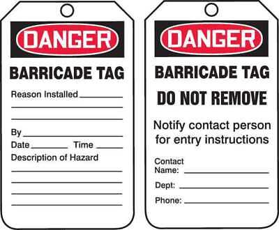 "Danger Tag, Accuform Signs, TAB104PTP, 5-3/4""Hx3-1/4""W"